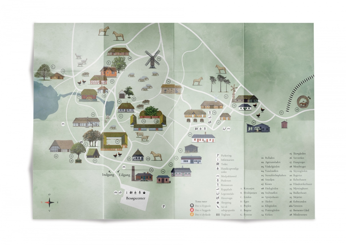 The newly designed Hjerl Hede open air museum map.