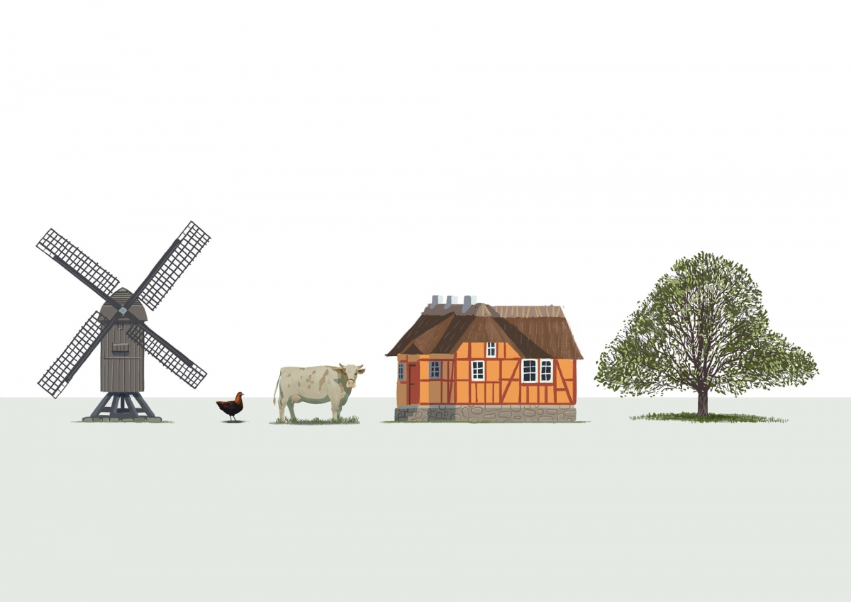 Four different illustrations, part of the newly designed map. A watermill, a cow, a house, a tree.