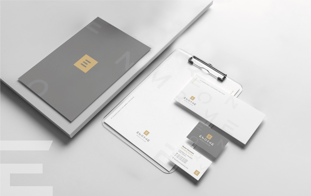 Enorme stationery part of the new visual identity