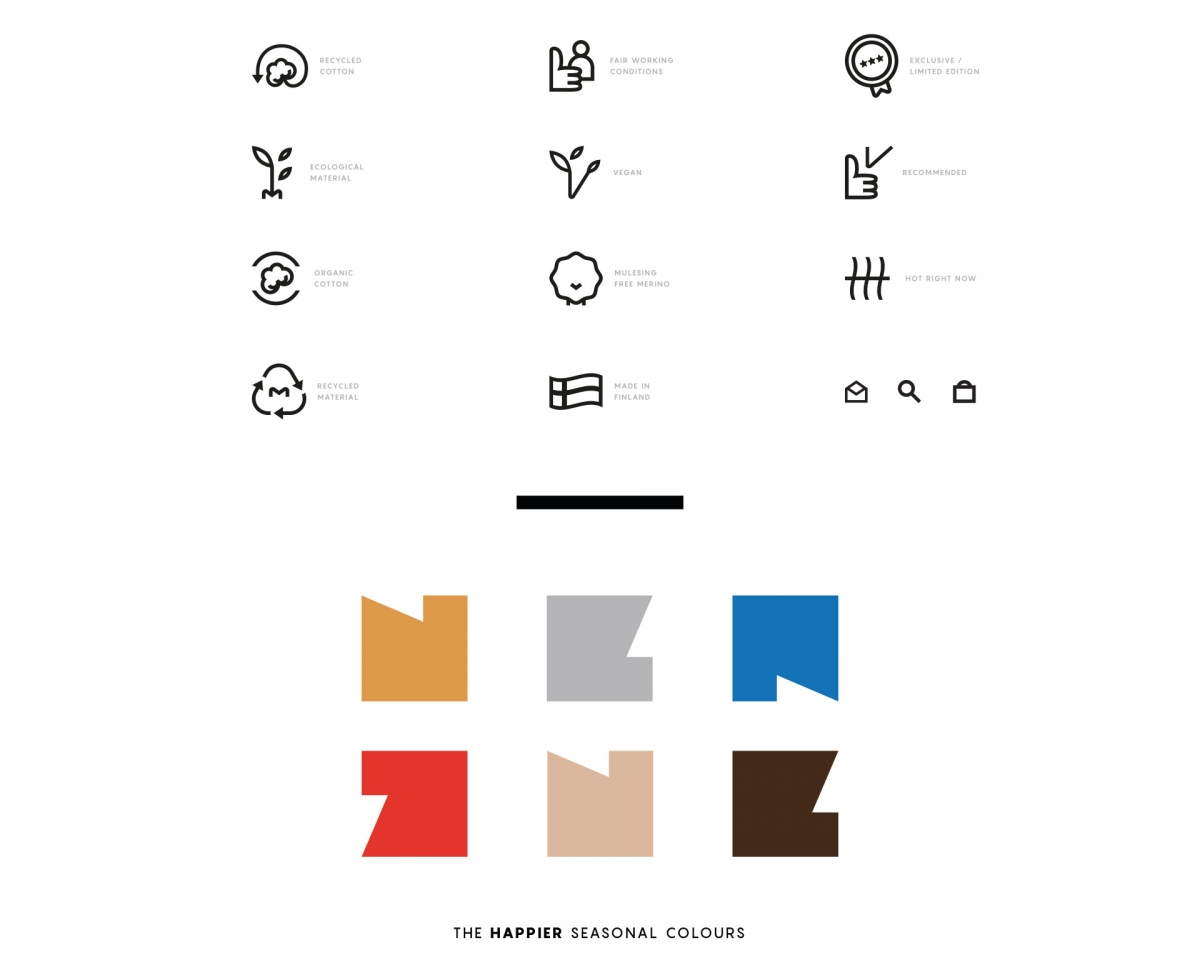 The happier iconography, part of the visual identity