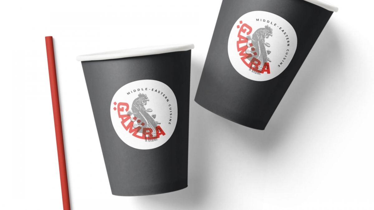 Gamba logo design applied on a paper cup