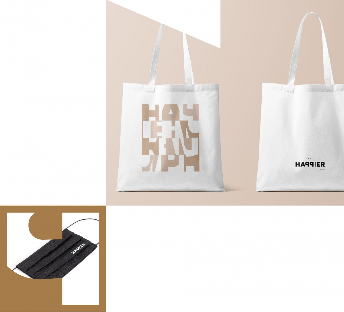 The happier tote bag and mask, part of the visual identity