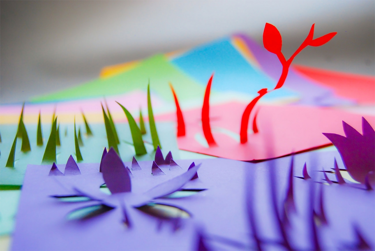 paper installation coloured papers shaped cut